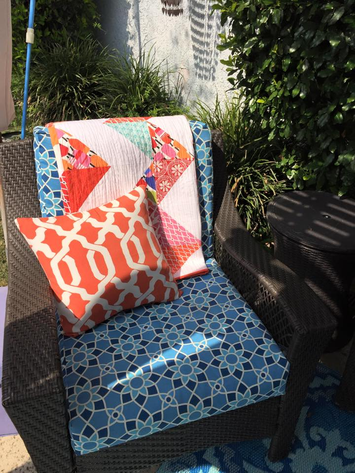 Chair with Quilt Blue