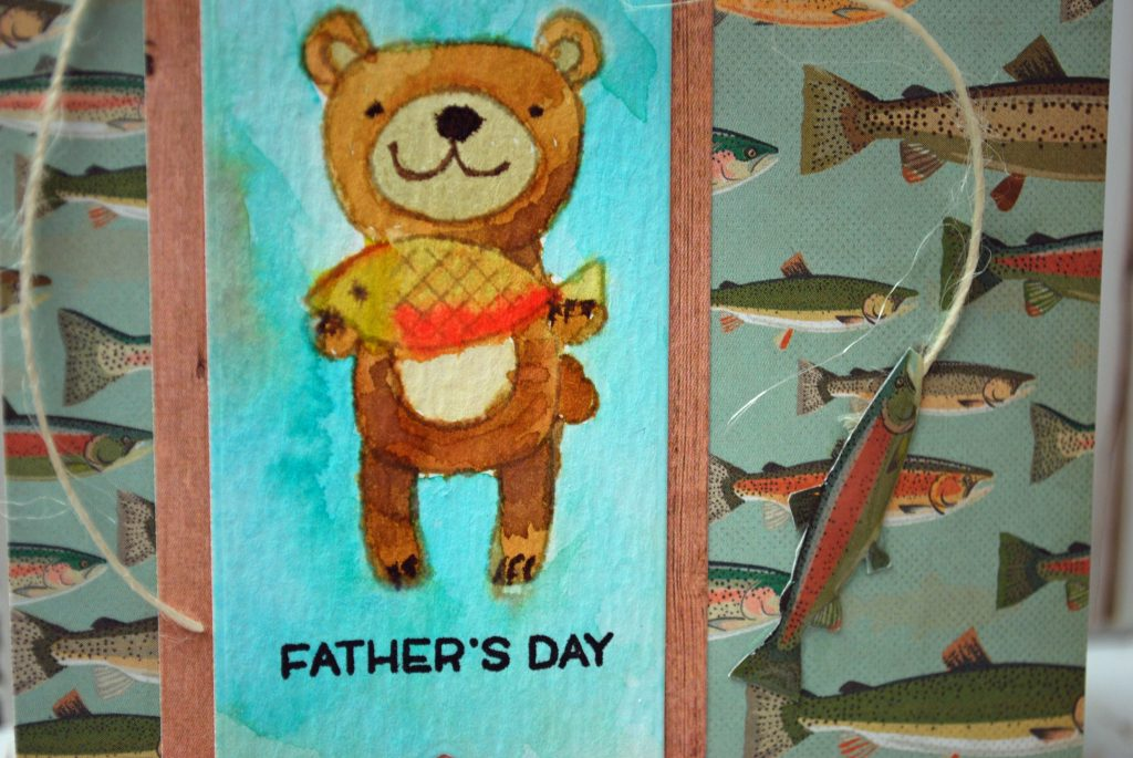 fishing bear watercolor closeup