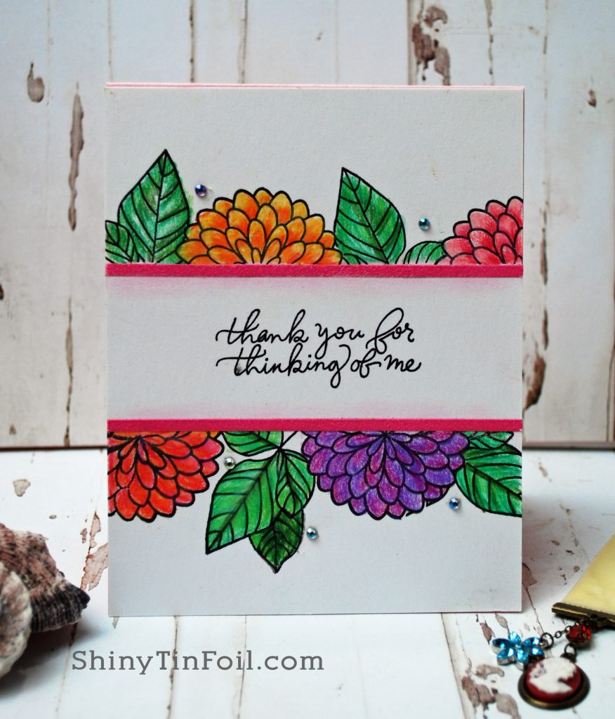Thank you with flower top and bottom border