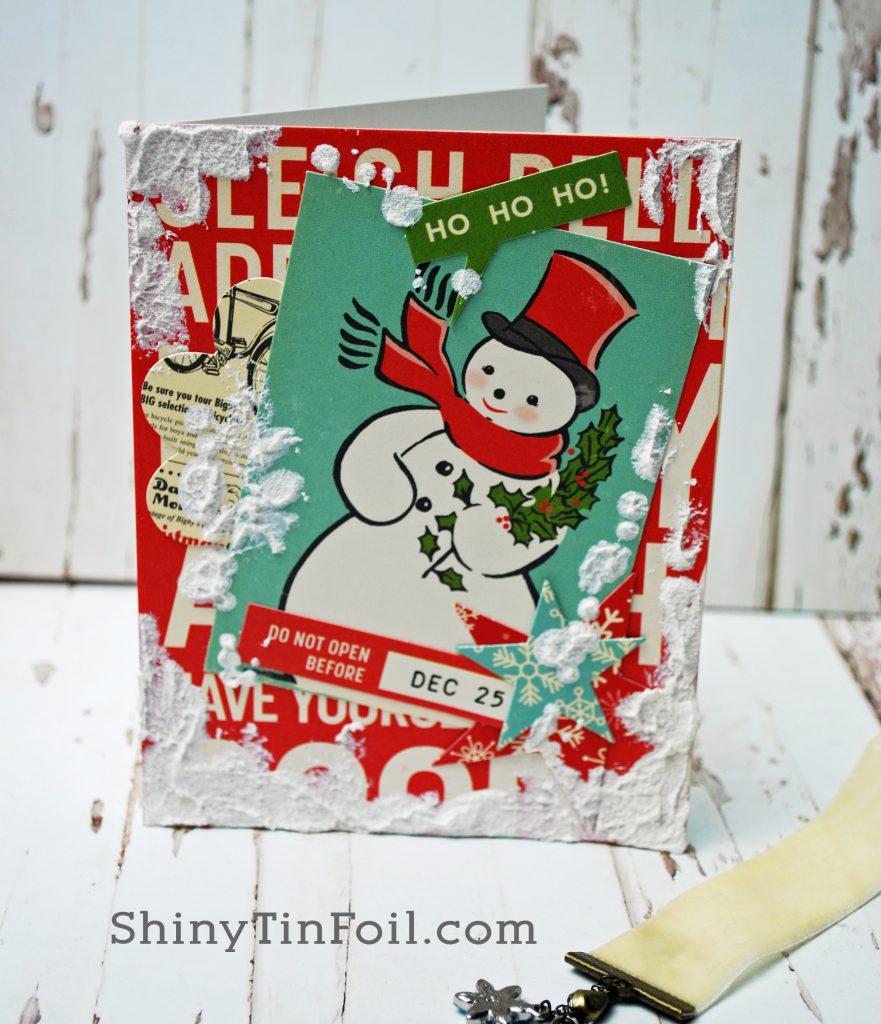 DAy Three Snowman Card Distress Grit Paste Grunge Technique
