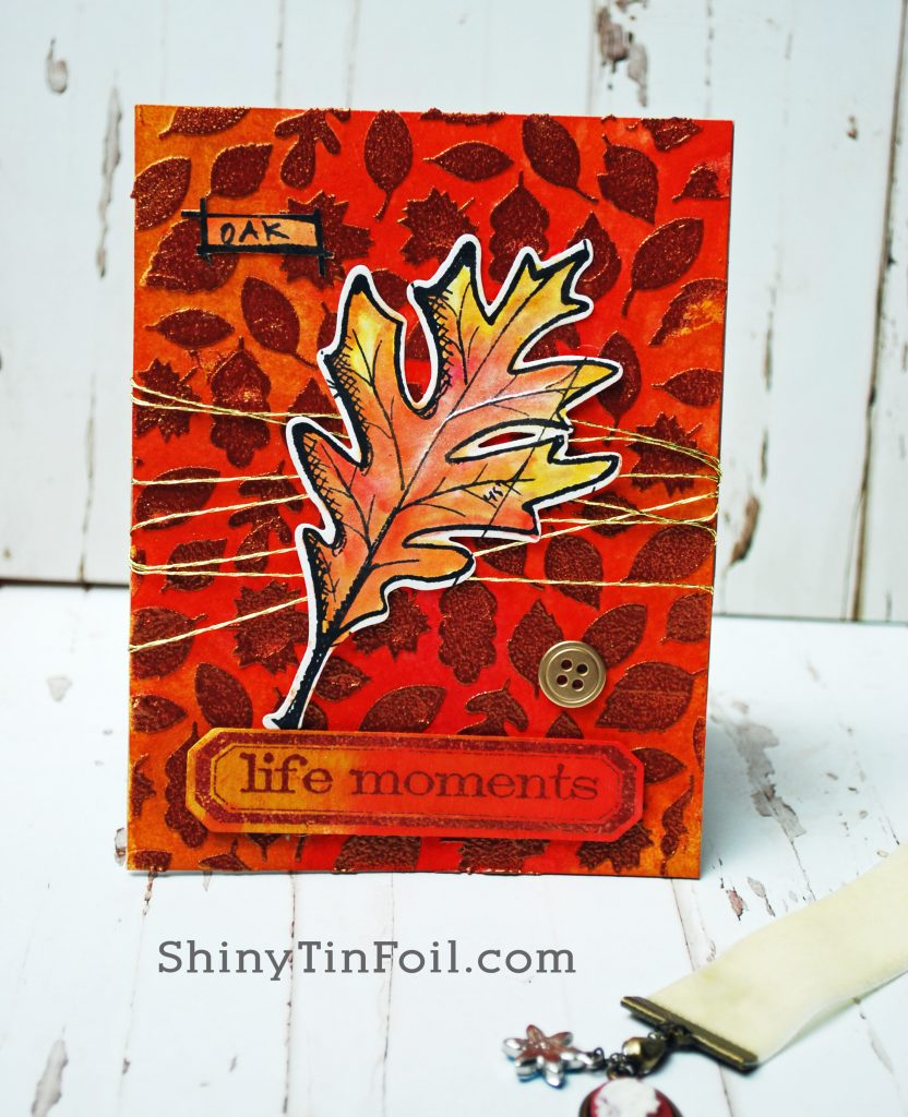 Day Three Leave Card Texture Paste Embossing Technique
