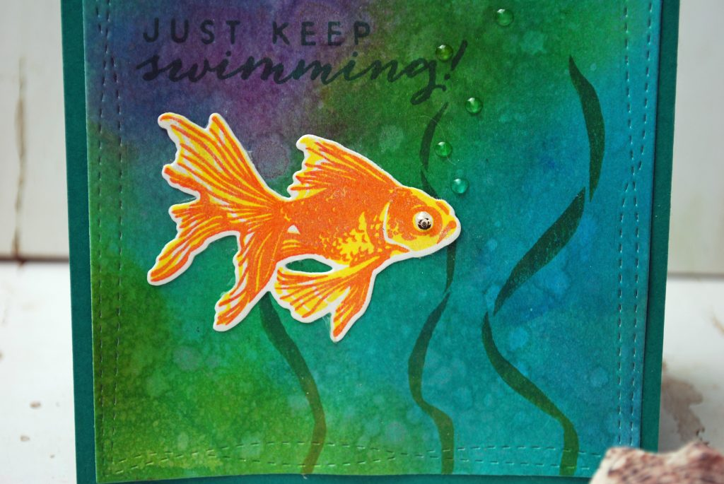 Day Two Goldfish Card Luminois Mica Technique close up