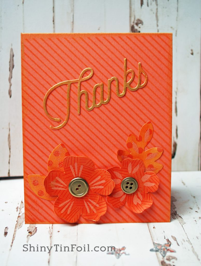 mono chromatic coral Thanks card